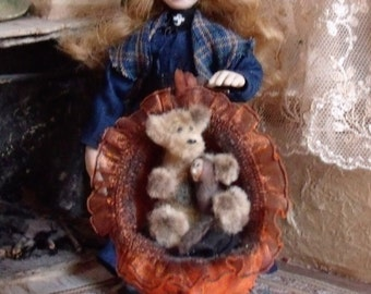 1/12th scale Witch Dolls House Miniature Little Girl Pumpkin Trolley One of a Kind OOAK Polymer clay Doll