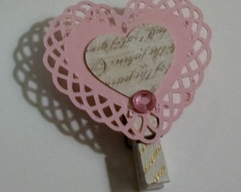 Planner or Scrapbook Embellishment-The Love Collection-Set of 2 Heart Clips