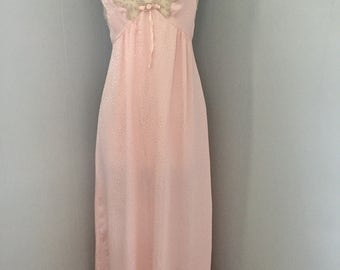 1970s Christian Dior pink satin nightgown with ecru lace Petite Small. Vintage designer lingerie.