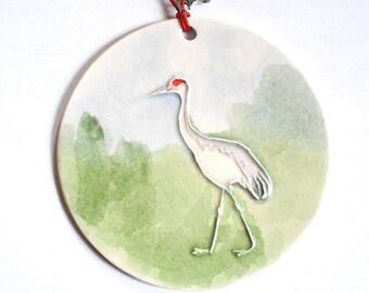 SAND HILL CRANE Ceramic-Watercolor Ornament for wall or tree plus free gift wrap, original, 100% handmade
