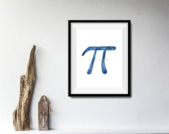 Pi art print, Pi sign print, Pi day, mathematical constant Pi, geek, nerd, Indigo Blue, fathers day, minimalist art, march 14, dorm decor