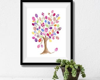 Easter tree art print, Easter eggs on tree print, Fun art print, Nursery art, Kids room, colorful art print, watercolor print, Birthday gift