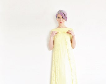 buttercup yellow mod lace dress . 1960 mid century bridal party gown .small