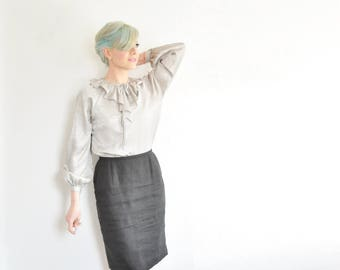 silver clown collar blouse . wide ruffle neck tie shirt . pale metallic gray .medium .sale s a l e
