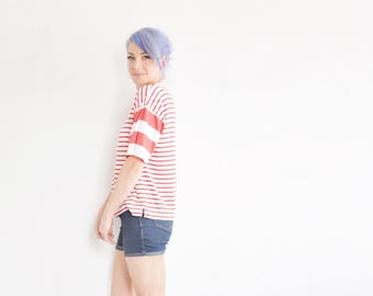 1990 red white striped shirt . saved by the bell meets wheres waldo tee .large.extra large