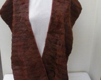 Vintage Mahogany Mink Fur Stole - Mink Wrap