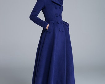 Blue coat, wool coat, pleated coat, lapel coat, flare coat, double breasted coat, buttoned coat, fitted coat, maxi coat women 1685