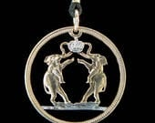 Cut Coin Jewelry - Pendant - Rhodesia - Elephants