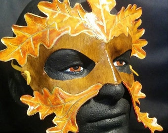 Leather Leaf Masquerade Mask Green Man Gold and Brown OOAK