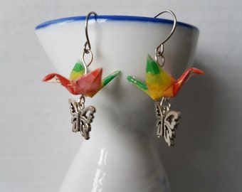 Origami earrings pink yellow green pixel paper crane with silver charms eco-friendly jewelry