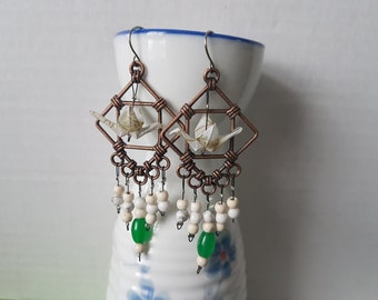 Origami crane earrings of white paper in copper hoop with natural howlite and jade