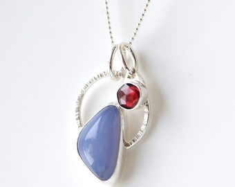 Charm necklace with red garnet charm and blue chalcedony, sterling silver necklace, blue and red, January birthstone, handcrafted jewelry