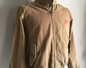 Vintage Mens 70's Corduroy Jacket, Tan, Zip Up, Long Sleeve, Dr Pepper by Sir Jac (L)