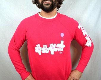 RARE Vintage 80s Heart Pink Cute Teddy Bear Sweatshirt -Lingo