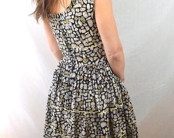 Lovely Vintage 1950s 50s Mode O Day - Cotton Dress