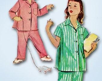 1950s Vintage McCalls Sewing Pattern 9234 Uncut Girls 2 Piece Pajamas Size 12
