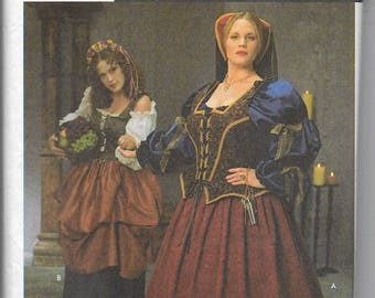 Uncut, Misses Size 18W - 24W, Sewing pattern, Simplicity 8249, Costume, Gown, Dress, Corset, Queen, Medieval, Renaissance, Woman Plus, Maid