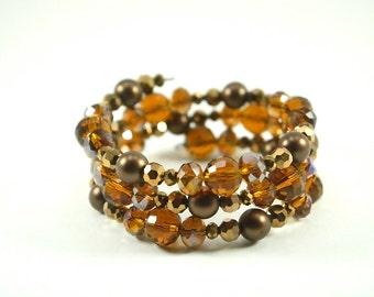 Warm Brown Bracelet Neutral Wrap Bracelet No Clasp Memory Wire Bracelet