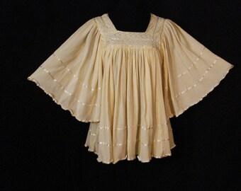 Boho Hippie Caftan Blouse Vintage Vicki Wayne Pale Yellow Lace Trim Gypsy Chic Kaftan Top OS