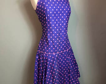 Vintage 50s 60s Sundress Dress - Purple with Pink Polka Dots - by Jo Jr Dallas - Size 9 - Drop Waist - Tie at Shoulders