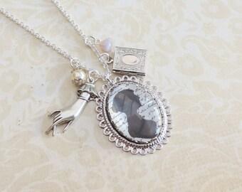 Jane Austen necklace- silvertone necklace- Pride and Prejudice necklace-Mr Darcy-Mrs bennett- Book necklace-litterature