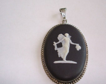 Black White Wedgewood Pendant Angel Jewelry Sterling Good Condition