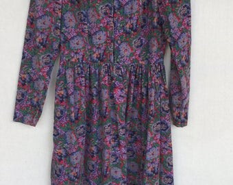 Vintage LAURA ASHLEY Dress, Corduroy, Long Sleeve, Gathered Waist, Tea Rose Cottage Floral, Boho, Modest, Victorian, Prairie Dress