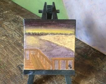 Beach Painting, Sunset, Landscape painting, Miniature Painting, Original Painting