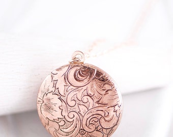 Floral Rose Gold Locket Necklace, Picture Locket, Paisley Pink Flower Jewelry, Rose Gold Wedding Locket, Picture Memento Necklace