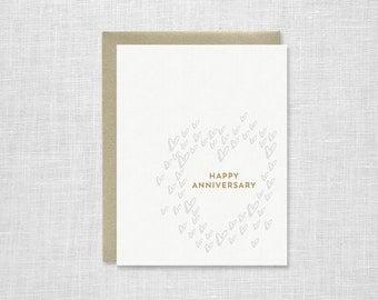 Hearts Letterpress Happy Anniversary Card