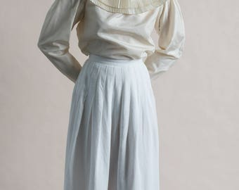 Vintage 80s Guy Laroche Ruff Collar Blouse / White Satin Top / Designer Vintage