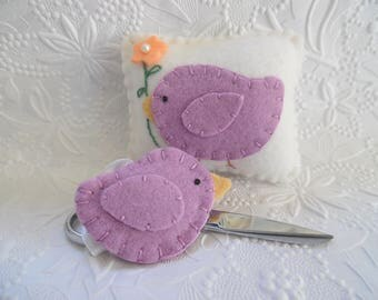 Bird Pincushion Felt Scissor FOB Set Sewing Pins Needle Keep Quilting