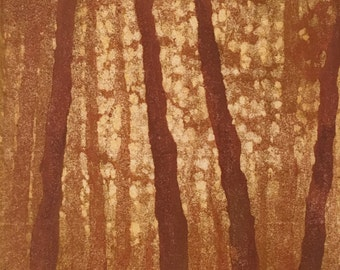 Woodblock Print Forest No. 7 Limited Edition Moku Hanga Print, Matted Original Fine Art Block Print Landscape