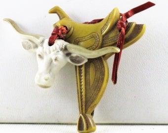 Antique Vintage Celluloid Longhorn Steer and Saddle Brooch Pin (B-1-3)