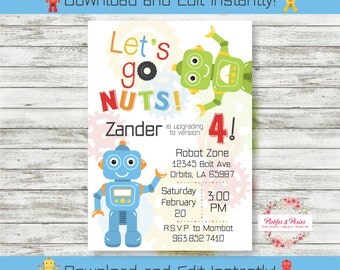 Editable Robot Invitation - Robot Birthday Party - Instant Download - Edit at Home with Adobe Reader Now!