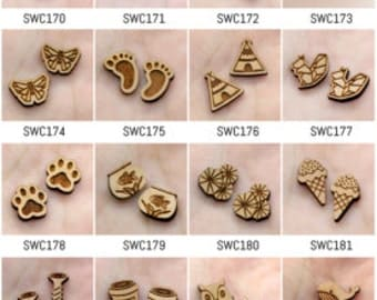 ALL Design - 4pcs DIY Laser Wooden Charms (PP) (SWC141--SWC211)