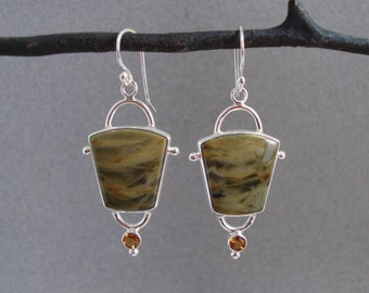 Morrisonite Jasper and Citrine Earrings in Sterling Silver, Olive Green Stone Dangle Earrings
