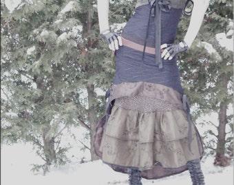 Skirt - Steampunk - Victorian - Burning Man - Gypsy - Tiered Skirt  - Tango - Overskirt - Petticoat - Bohemian - Taffeta - Size Small