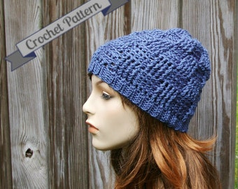 Crochet Pattern Beanie Hat in Basketweave stitch Instant Download
