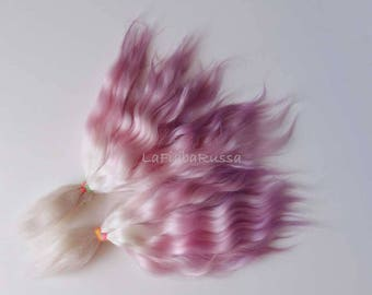Doll Hair Combed Mohair locks 9 in lilac, pink white ombre shades mohair goat fiber for reroot, Reborn, momoco, doll wig, pullip, pukifee