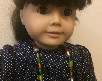 Glass Bead Necklace, 18 in doll scale, Handmade