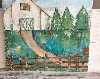 Barn painting, 20 x 20 with 1.5 deep profile, folk art, blues and greens, barn, farmhouse art,original painting, farmhouse decor, fine art