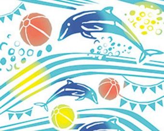 Japanese Tenugui Towel Cotton Fabric, Killer Whale, Dolphin, Sea, Wall Hanging, Kawaii Animal, Home Decor, Table Cloth, Headband, wf146