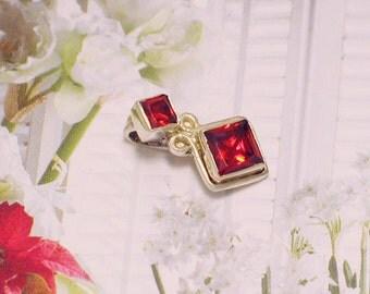 dainty gemstone silver pendant charm 4 necklace princess cut vibrant deep orange crystal scroll design womens fine jewelry