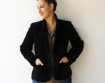 Vintage Black Velvet Jacket / Black Jacket / Size L