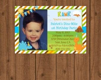 Dinosaur Birthday Invitation, Dinosaur 1st Birthday Invitation, Boys Dinosaur Invitation, Printable Invitation