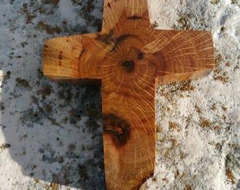 Handmade wood cross magnet made from Texas honey mesquite, Christian decor