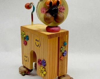 Mixed Media Assemblage Art Cat Kitty Smiley Happy
