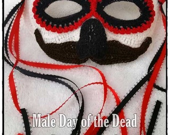 Male Day of the Dead or Halloween Costume Mask Crochet Pattern  PDF - INSTANT DOWNLOAD