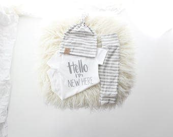 Heather stripe gender neutral 3 piece new baby outfit | Hello I'm new here | newborn outfit | bringing home baby outfit | gender surprise